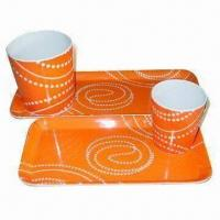 Tea Cup with Tray Set, Made of 100% Melamine, Meets FDA/LFGB Standard, OEM Welcome Manufactures