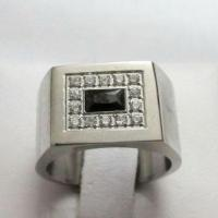 316L Stainless Steel Mens Ring with Micro Setting Cubic Zirconia Manufactures