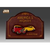 Decorative Wood Wall Plaques 3D Resin Car Wall Decor Antique Wooden Wall Art Signs Red Color Manufactures