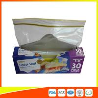 Supermarket Reuseable Plastic Clear Sandwich Bags Zipper Top 22 * 25cm Manufactures