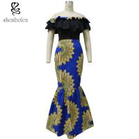 Fishtail African Print Skirts With Peplum Top , African Print Wedding Dresses Manufactures