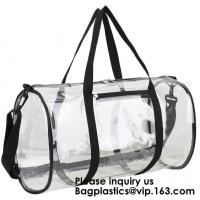 Quality Clear Duffel Gym Bag Transparent PVC Carry Bag With Shoulder Strap,Cosmetic Carry Bag Magnet Pockets Detachable Shoulder for sale