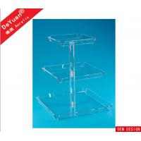 Transparent Square Acrylic Display Stands 3 Tiers For Wedding Party Manufactures