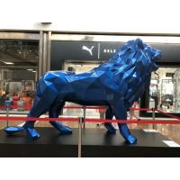 Blue Metal Animal Sculptures , Customized Metal Lion Statue With 100% Hand Carved Manufactures