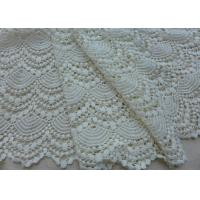 Vintage French Crocheted Cotton Lace Fabric Scalloped Edge Hollow Out Ivory Dots Manufactures