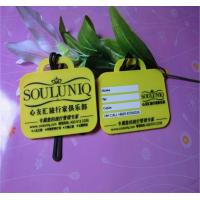 Yellow 2d Design Soft PVC Suicase Tag / Travel Name Tag With Writing Backside For Club Gift Manufactures
