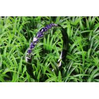 Anniversary Ladies Black Ceramic Silver Bangle Long Heart With Blue Stone , CSB0875 Manufactures
