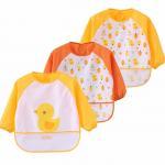 Yellow Full Sleeve Bib / Baby Smock Bib And Burp Cloth Set With Pocket Manufactures