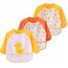 Yellow Full Sleeve Bib / Baby Smock Bib And Burp Cloth Set With Pocket for sale