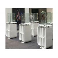 Shining White Coating Custom Glass Display Cases With High Pole LED Lights Manufactures