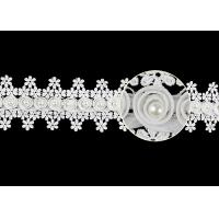 3D Flower French Venice Guipure Lace Trim With Pearl Bead For Bridal Wedding Dress Manufactures