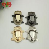 Bag hardware accessory nickel color zinc alloy metal push lock fittings for purse Manufactures