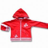 Girls Hooded Jacket with Various Prints and Embroidery, Made of Cotton and Spandex Manufactures