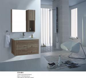 China 80cm Wide Pvc Bathroom Vanity / Wall Hanging Bathroom Cabinets Wood Grain Color on sale