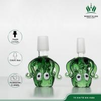 3.5 Inches Glass Bubbler Bowl 14.4mm Male Octopus Green Color For Glass Bong Water Pipe Manufactures