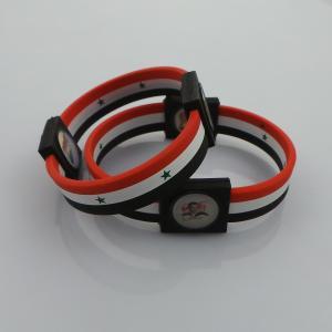 Heat-Resisting Sports Silicone Bracelets , Safe Negative Ion Syria Power Energy Bracelet Manufactures