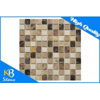 Quality 1 x 1 Inch Shower Room Travertine Marble Mosaic Flooring Tile Sqaure Polished For Wall and Floor for sale