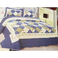 Blue Checkered Home Bed Quilts Soft Touch For Indoor Household Decoration Manufactures