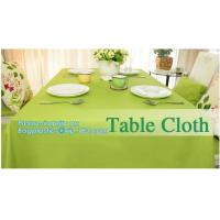 China Disposable tnt pp spunbond non woven table cloth, modern luxury restaurant dining used non woven long teal pvc plastic t on sale
