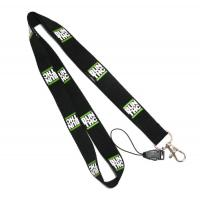 Black Detachable Cell Phone Neck Lanyard With Silk Screen Print Logo Manufactures