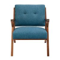 Blue Arm Accent Chair Deattached Seat , Fabric Living Room Chairs Tight Back Manufactures