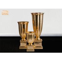 Gold Leafed Fiberglass Table Vases Homewares Decorative Items Trumpet Floor Vases Manufactures