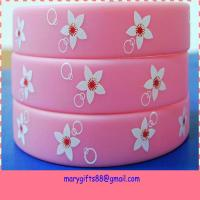 pink custom printed silicone bracelets with flower logo Manufactures