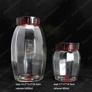 Wholesale food cookie jar unique honey glass large storage jar with screw lid Manufactures
