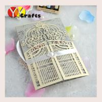 Elegant Wedding Invitation Card Gatefold With Laser Cutting , Free Name Logo Manufactures