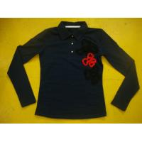 Cotton Spandex Bows Front Girls Stylish Top Rib Neck Long Sleeve Polo Shirts Kids Manufactures