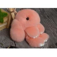 Rabbit Fur Round Fuzzy Ball Keyring , Cute Fluffy Keychain For Bag Pendant Manufactures