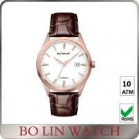 Luxury Mechanical Brown Genuine Leather Watches With Date Working Manufactures