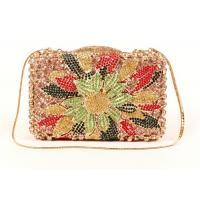 Multi Color Crossbody Stone Clutch Bag Diamond Gold Pu Lining For Women Manufactures