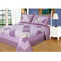 Irregular Cloud Stitching Quilt Comforter Sets , Purple Checkered Full Size Bedspread Manufactures