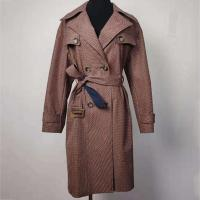 Wind Break Ladies Fashion Wear , Double - Breasted Checked Trench Coat Manufactures