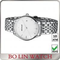 China Mens Sport Stainless Steel Bracelet Watch / White Dial Watch With Metal Strap on sale