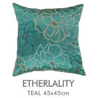Faux Silk Flower Embroidered Decorative Pillows Green Blue , Invisible Zipper Manufactures