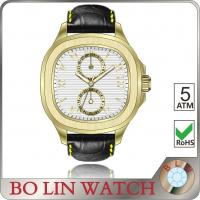 Gold Case & Dial Black Leather Band Watches , Japanese Movt Mens Square Leather Watches Manufactures