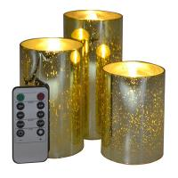 China Moving Flame Gold Mercury Glass Flameless Pillar Candles on sale
