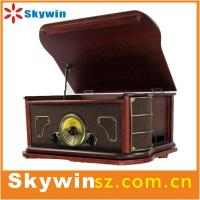 2014 portable  Best Retro solid wooden 7 in 1 turntable player  with cassette /radio/USB Manufactures