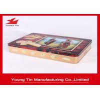 Large Rectangle Cookie Packaging Gift Tins Box With CMYK Printing Shiny Finish Manufactures