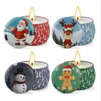 China Scented Soy Wax Cute Pattern Christmas Tin Candles Jar With Metal Lid Lightweight on sale