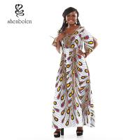 Peacock Flower Fashionable African Print Dresses Ankara Print In The Sleeves Manufactures