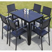 China China factory Plastic Wood Outdoor Furniture Coffee Square Shop Patio garden Chair and Table Set on sale