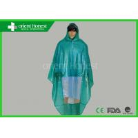 Plastic Disposable Rain Poncho / Rain Suits For Motorcycle , Green Manufactures