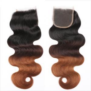 China Three Tone Virgin 4x4 Hair Closure , Hand Tied 4x4 Free Part Closure on sale