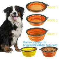 China Food Water Feeder Silicone Portable Folding collapsible dog bowl, pocket foldable silicone travel pet food dog bowl, bag on sale