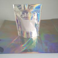 China 3 Side Sealed Holographic Mylar Ziplock Bags for Powder Body Scrub Products on sale