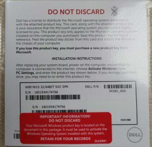 China Microsoft W8p/W10 32/64 Bit Svc Dpk Windows 10 Product Key Sticker English Language on sale