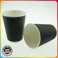 Disposable 12oz Horizontal Ripple Wall Paper Coffee Cups Manufactures